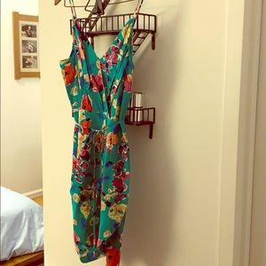 Yumi Kim Emerald Floral Print Dress - 100% silk